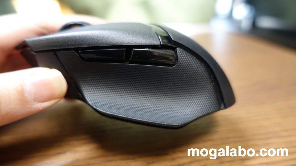 滑り止めのラバーが標準でつけられており、しっかりマウスを握れる