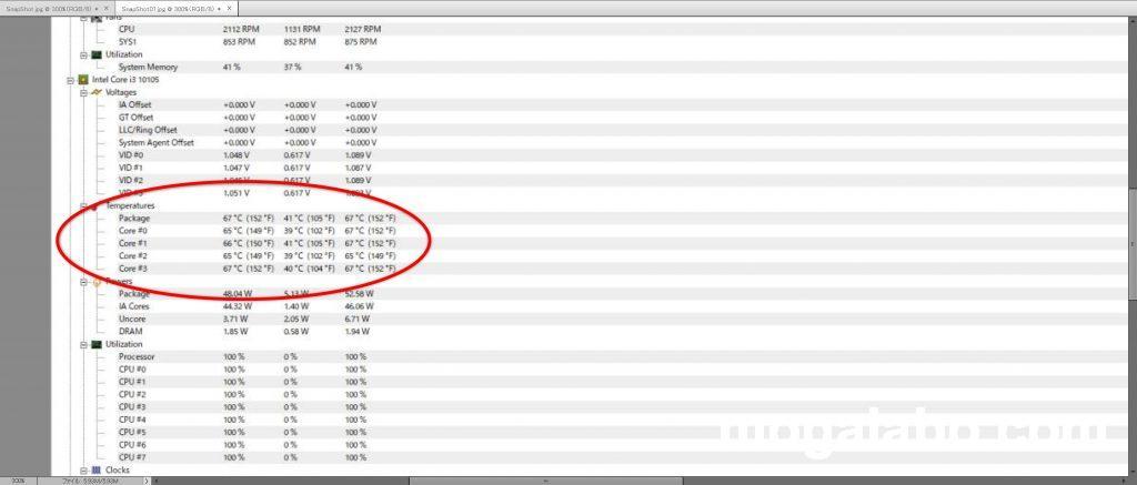 CPU負荷100%時のCPU温度